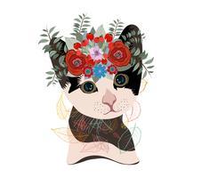 Nette Karte mit reizender Katze. Katze in einem Kranz von Blumen vektor