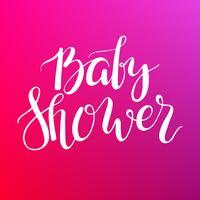 Baby-Dusche-Text. Individuelle Beschriftung Einladung zur Babyankunft. vektor