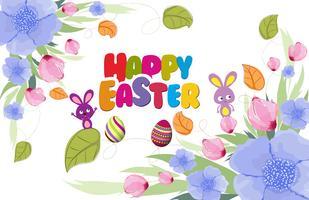 Schöne glückliche Ostern-Karte mit Häschen und Blumenkranz