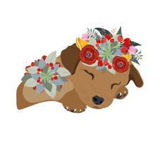 Tecknad penna hund ansikte, makaque porträtt med vackra blommor på huvudet, blomkrans