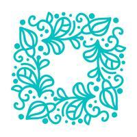 Monoline-Kalligraphie des Türkisvektors blüht Rahmen für Grußkarte