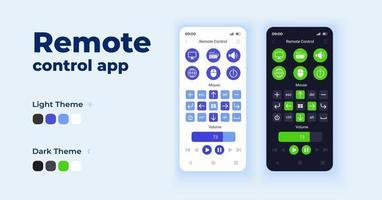 Fernbedienungs-App-Cartoon-Smartphone-Schnittstelle Vektorvorlagen eingestellt vektor