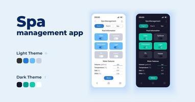 Spa-Management-App-Cartoon-Smartphone-Schnittstelle Vektorvorlagen eingestellt vektor
