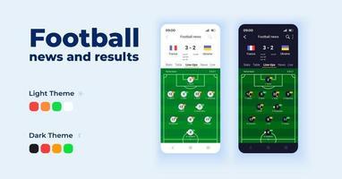 Fußballnachrichten-Cartoon-Smartphone-Schnittstellenvektorvorlagen eingestellt vektor