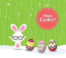 lycklig påskkanin och äggbakgrund