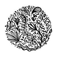 Flacher abstrakter runder schwarzer Blumenkrautblumenstrauß. Vektor-Garten-Sommerflora