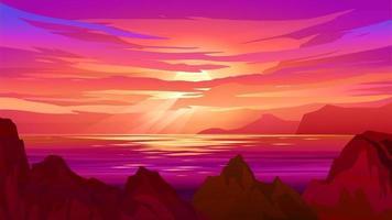 dramatischer Sonnenuntergang an der Küste mit Felsen und Klippen vektor