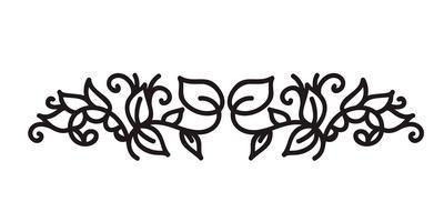 Monoline Flourish skandinavischer Monogrammvektor mit Blättern und Blumen vektor