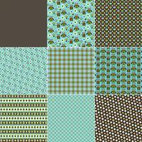 blågröna ugglor svampblommor och polka dotmönster