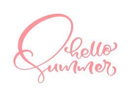 Kalligrafi bokstäver frasen Hello Summer. Vector Hand Drawn Isolerad text.