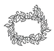 Vektor monoline kalligrafi blomstra ram för semester hälsningskort