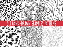 Sats med fyra sömlösa abstrakta handritade mönster,