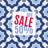 Helles Design für Ihre Verkäufe, Rabatte und Werbeaktionen. Azulejos-Portugal-Stil. vektor