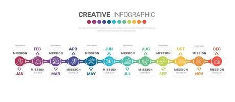 12 Monate Infografik-Design und Präsentationsgeschäft vektor