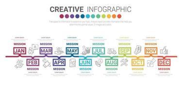 12 Monate, Infografiken den ganzen Monat Planer-Design vektor