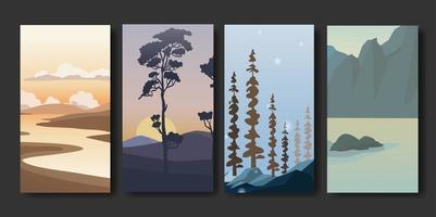 Satz minimalistischer Landschaftszusammenfassung vektor