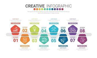 Infografik-Design-Vorlage mit den Nummern 8 Option vektor