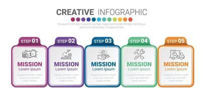Präsentations-Infografik-Vorlage mit 5 Optionen vektor