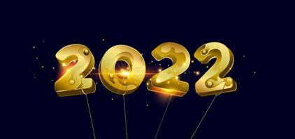 Vektor-Illustration Frohes neues Jahr 2022 goldene Zahlen vektor
