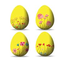 Set Ostereier und fröhliche Ostern vektor