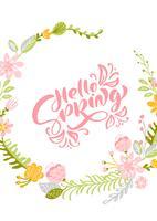 Blumen-Vektorgrußkarte mit Text hallo Frühling