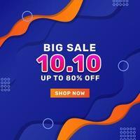 10 10. Oktober Verkaufsangebot Werbeaktion Social Media Banner vektor