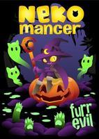 Hexenkatze sitzt auf dem Kürbis, Halloween-Hintergrundillustration vektor