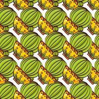 Seamless mönster av kaktusar och succulenter i krukor.