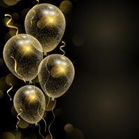 Firande bakgrund med glittrande guldballonger vektor