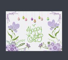 Glad påskägg hälsningskort blomma lila vektor