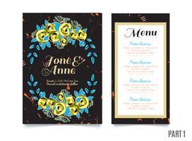 Trendigt kort med rosor för bröllop, spara datuminbjudan