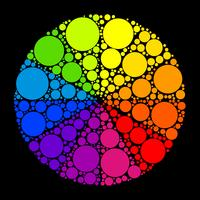 Färghjul eller färgcirkel på svart bakgrund