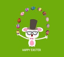 Glad påsk. Cirkus fångskanin med ägg