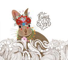 påskkanin doodle blommig prydnad bakgrund vektor