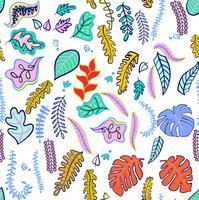 Set med tropiska blad modiga färger.