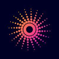 Halbton-Farbverlaufspunktkreis. vektor