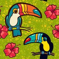 Toucan och Hibiscus. Tropiskt grönt sömlöst mönster.