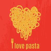 Hjärta av spagetti. Affisch vektor