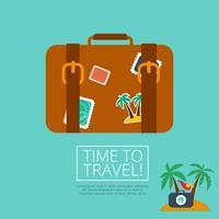 bagage läder resväska med rese klistermärke vektor