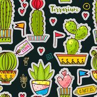 Ställ in modefläckar, broscher med kaktusar