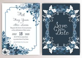 Eleganta bröllopskort består av olika slags blommor. vektor