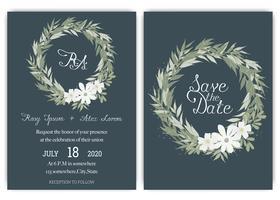Elegante Hochzeitskarten bestehen aus verschiedenen Blumenarten. vektor
