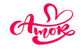 """Amor"" kalligrafiord (""Kärlek"" på spanska / portugisiska) vektor"