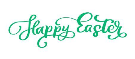 Grüner glücklicher handgeschriebener Beschriftungstext Ostern vektor