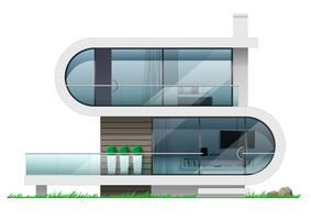 Fasad av ett modernt futuristiskt hus