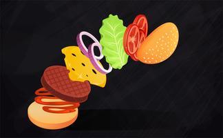 Hamburger mit Salat, Zwiebeln, Käse, Tomaten und Fleisch. Fliegende Zutaten von Burger. Vektorkarikaturabbildung