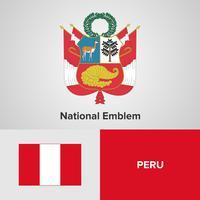 Peru National Emblem, karta och flagga