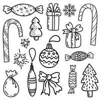 Satz Weihnachtsgestaltungselement im Doodles-Stil vektor