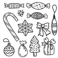 Satz Weihnachtsgestaltungselement im Doodles-Stil. Vektor-Illustration vektor