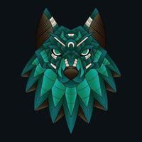 bunte Ornament Gekritzel Kunst Wolf Illustration Cartoon vektor